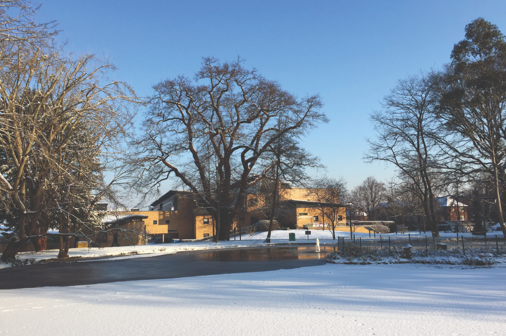 college building in the snow