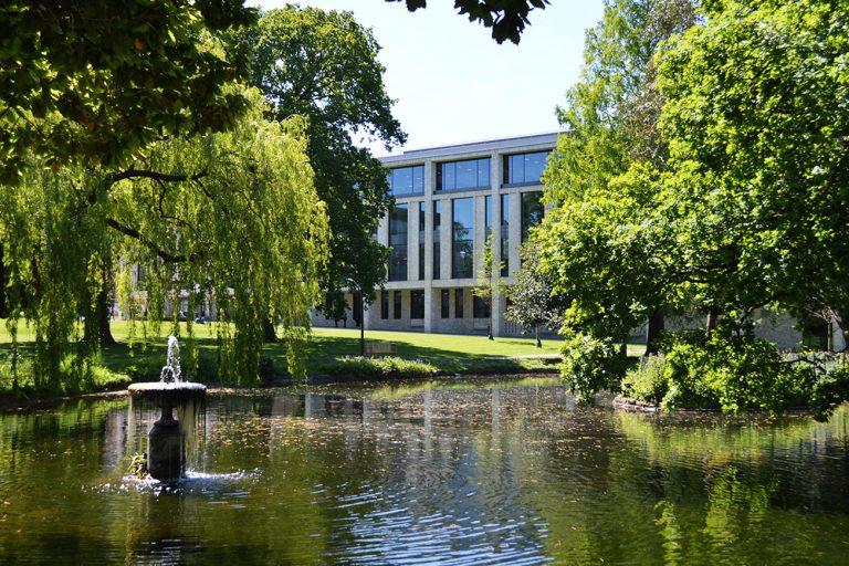 Lake, trees and library