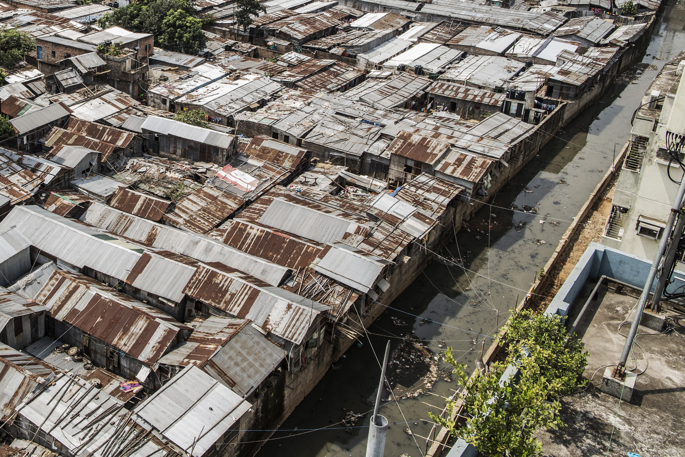 Aerial view of slum roofs in Dhaka