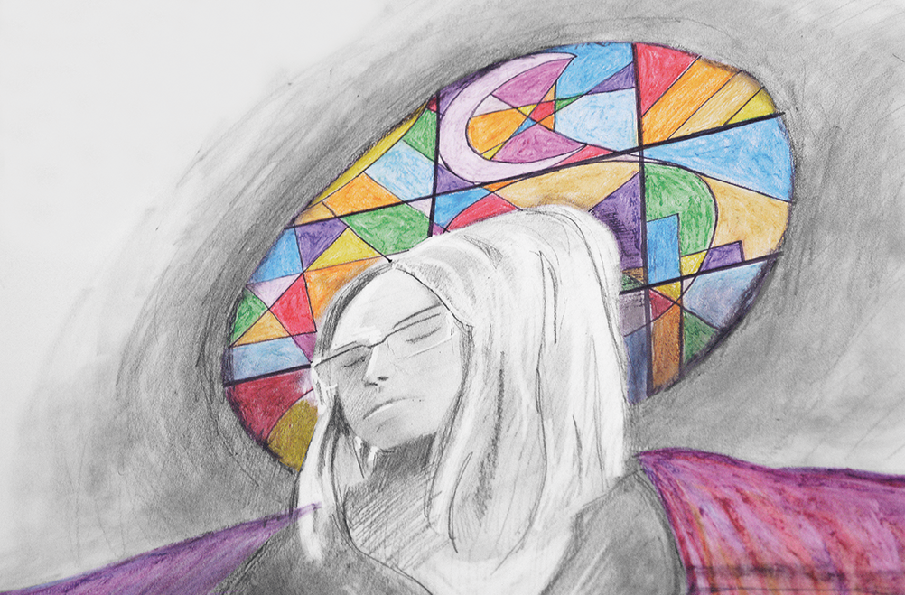 Pencil drawing of womans head and shoulders with eyes closed in front of round stained glass window
