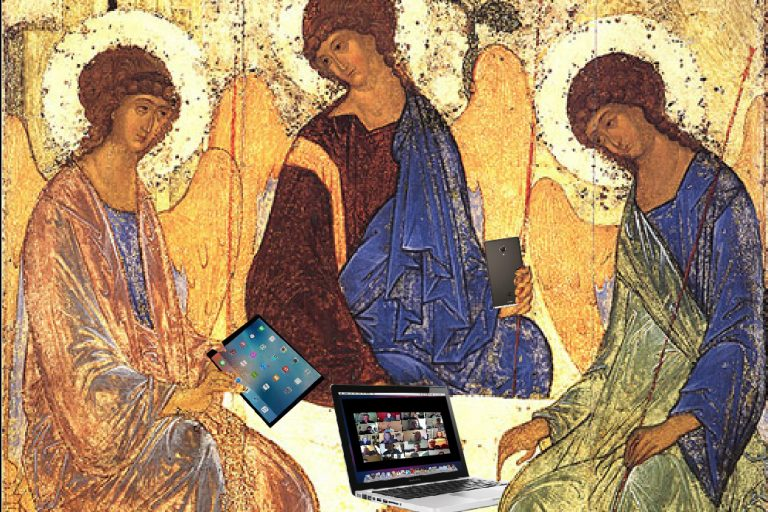 Ancient painting of three figures around table modified to show them with electronic devices