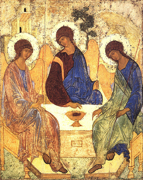 Icon of the Trinity by Andrei Rublev. Painting of three figures seated around a table.
