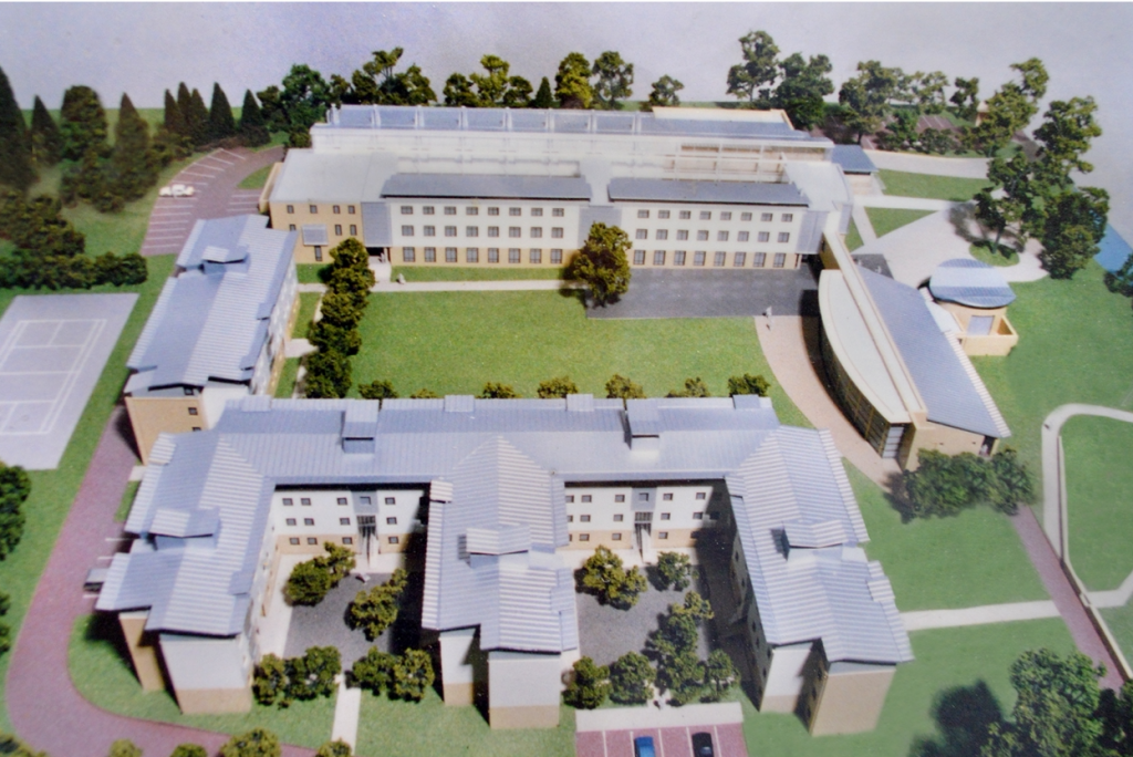 Overhead image of an architect's model of Southlands College
