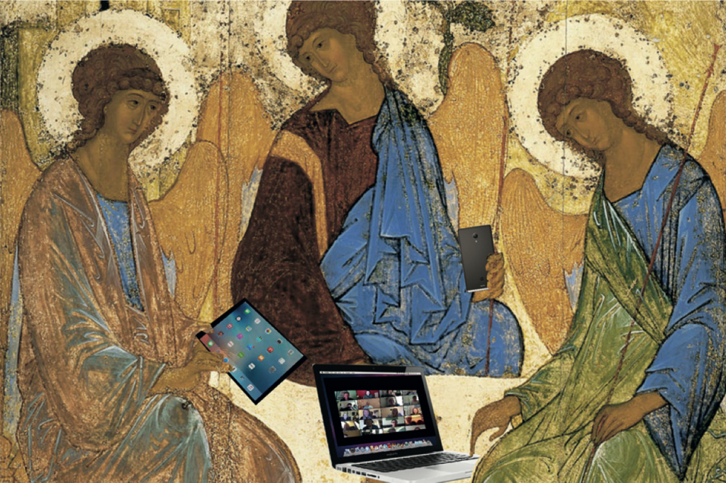 Russian icon painting of the Trinity by Rublev, with electronic gadgets added